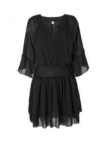 Flare Sleeve Layered Plus Size Chiffon Dress