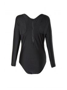 V Neck Long Sleeve One Piece Swimsuit - Black L