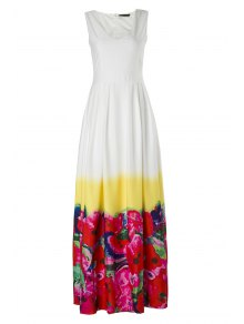 High-Waisted Floral Print Maxi Dress