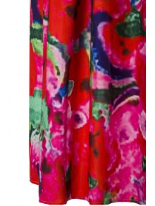 High-Waisted Floral Print Maxi Dress - RED S
