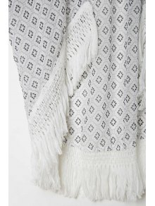 Polka Dot Print 3/4 Sleeve Kimono - WHITE S