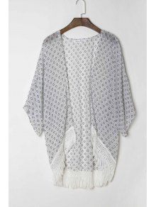 Polka Dot Print 3/4 Sleeve Kimono