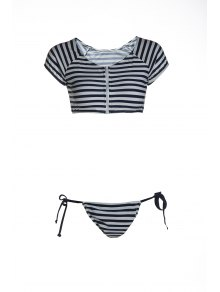 Striped Scoop Neck Short Sleeve Bikini Set - Blue And White