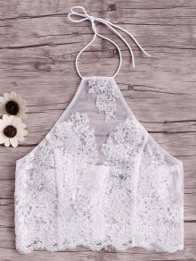 Embroidery Halter Lace Tank Top