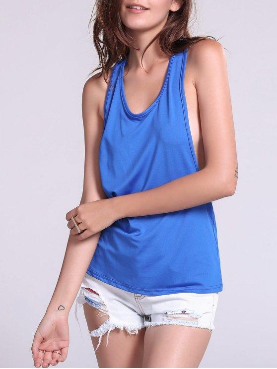 Haut ample pour Sport élégant couleur bonbon  dos ouvert pour femmes - Bleu saphir S