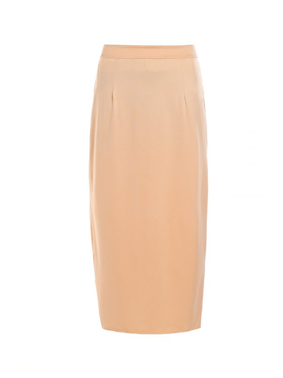 latest Pure Color High Waisted Bodycon Skirt - BEIGE L
