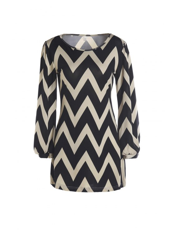 women's Zig Zag Long Sleeve Dress - KHAKI M
