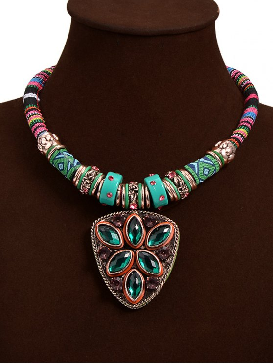 Collar colgante Escudo tribal Crystal Faux - Verde