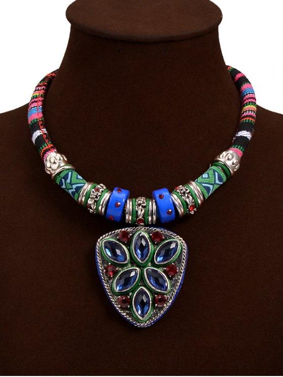 online Tribal Faux Crystal Shield Pendant Necklace - BLUE