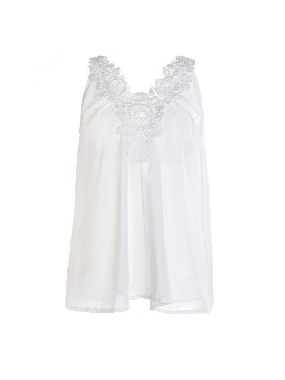 buy Lace Spliced Loose-Fitting Chiffon Tank Top - WHITE XL