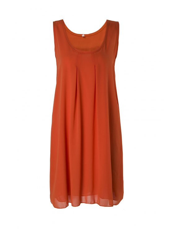 sale Sleeveless Solid Color Sundress - ORANGE S
