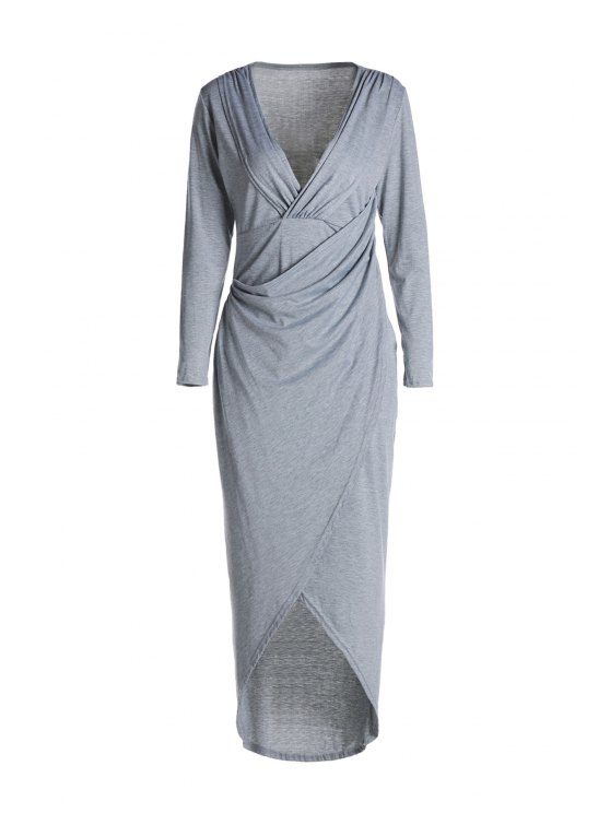 fancy Plunging Neck Cross High Split Long Sleeve Dress - LIGHT GRAY S