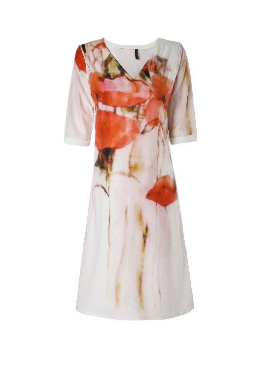 chic Floral Print Slit Half Sleeve Dress - WHITE M
