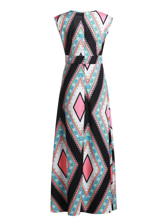 Square Collar Argyle Pattern Sleeveless Dress - COLORMIX XL Mobile