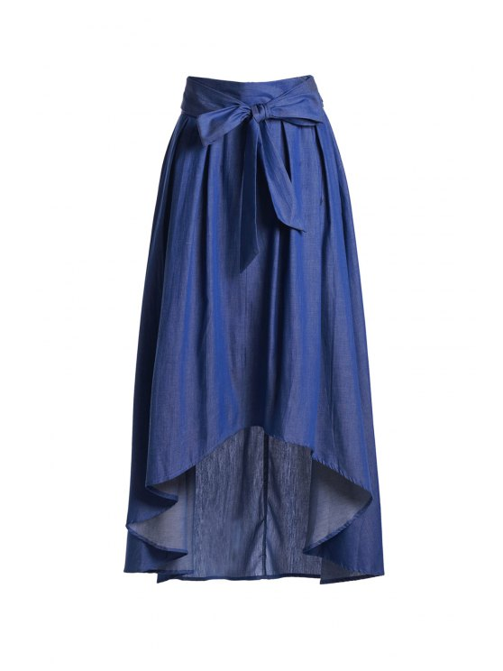 unique High-Waisted Bowknot High Low Skirt - BLUE 2XL