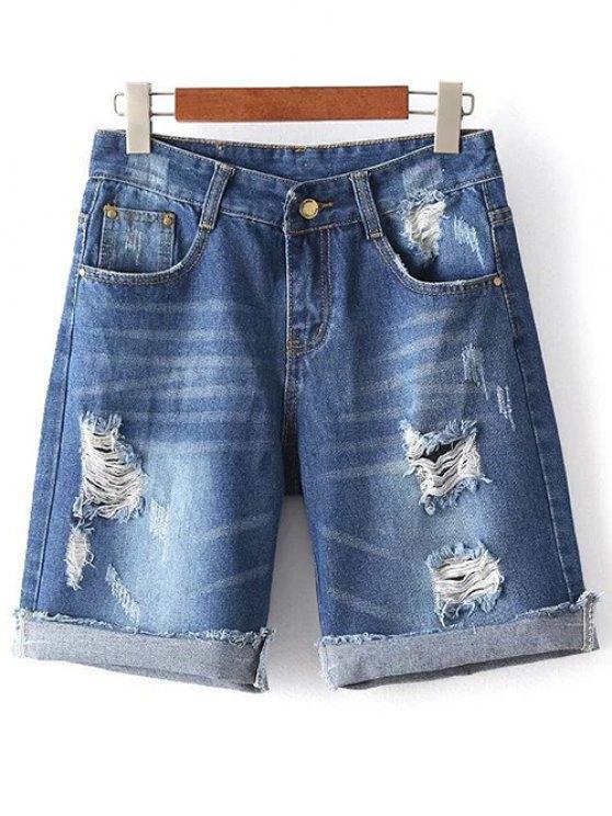 outfits Ripped High Waisted Denim Shorts - DENIM BLUE M