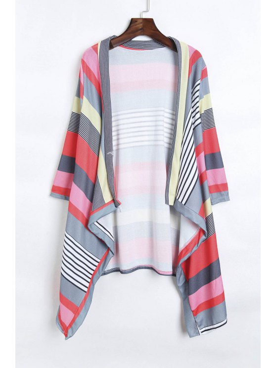 outfit Open Front 3/4 Sleeve Striped Thin Coat - RED S