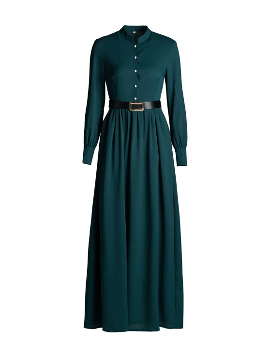buy Solid Color Single-Breasted Long Sleeve Dress - GREEN S