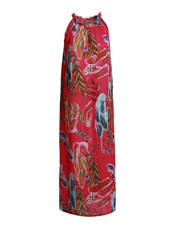 womens Sleeveless Floral Flare Dress - RED L
