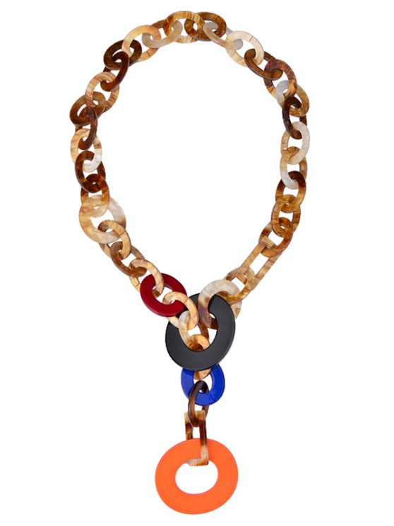 shops Round Link Chunky Statement Necklace - ORANGE