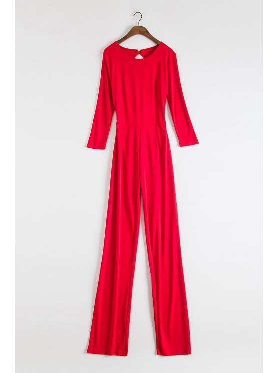 chic Backless Wide Leg Red Jumpsuit - RED S