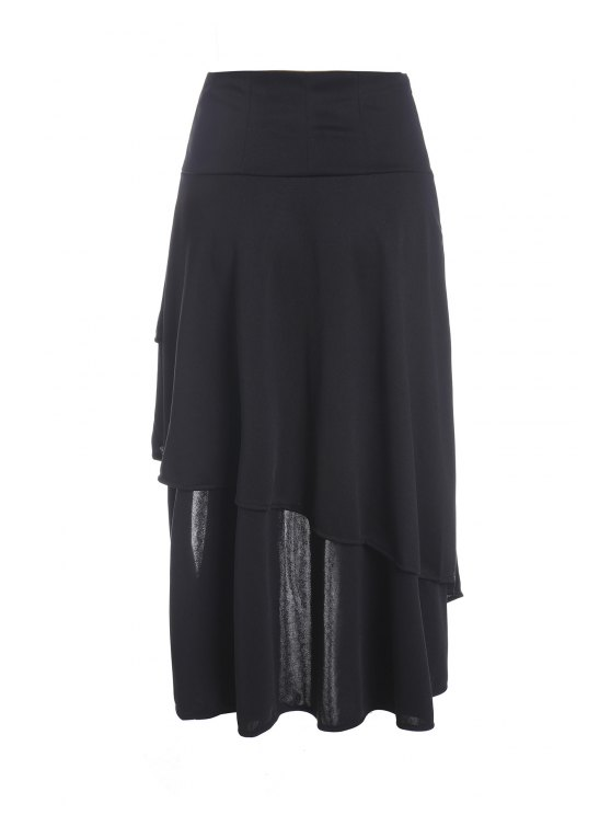 Gothic Lace-Up High-Waist A-Line Skirt - BLACK 2XL Mobile