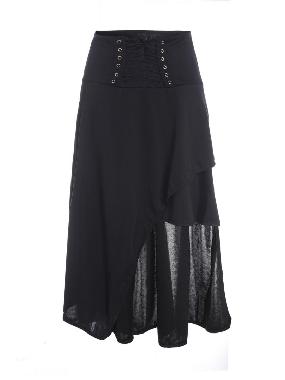 Gothic Lace-Up High-Waist A-Line Skirt - BLACK XL Mobile