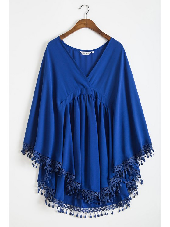 women Solid Color Lacework Spliced Cape Plunging Neck Cover Up - DEEP BLUE S