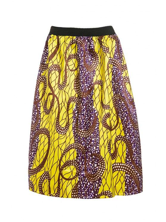 women Retro Print Ball Gown Women's Skirt - GOLDEN L