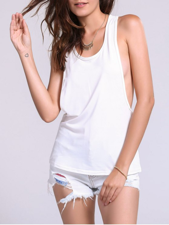 Dropped Armhole Tank Top - WHITE S Mobile