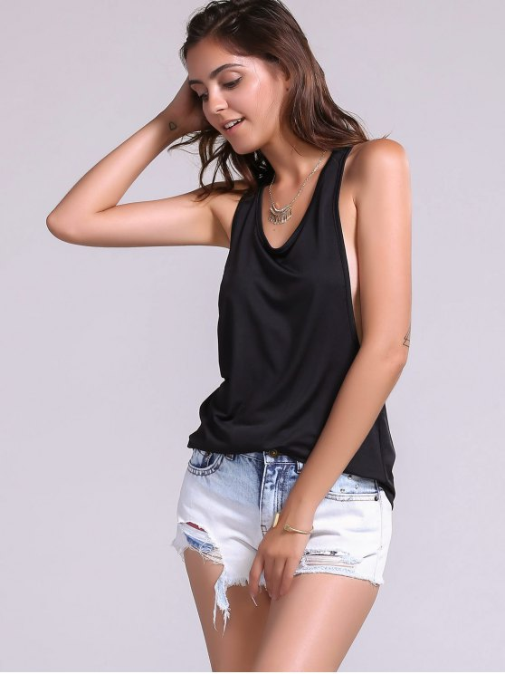 Dropped Armhole Tank Top - BLACK S Mobile