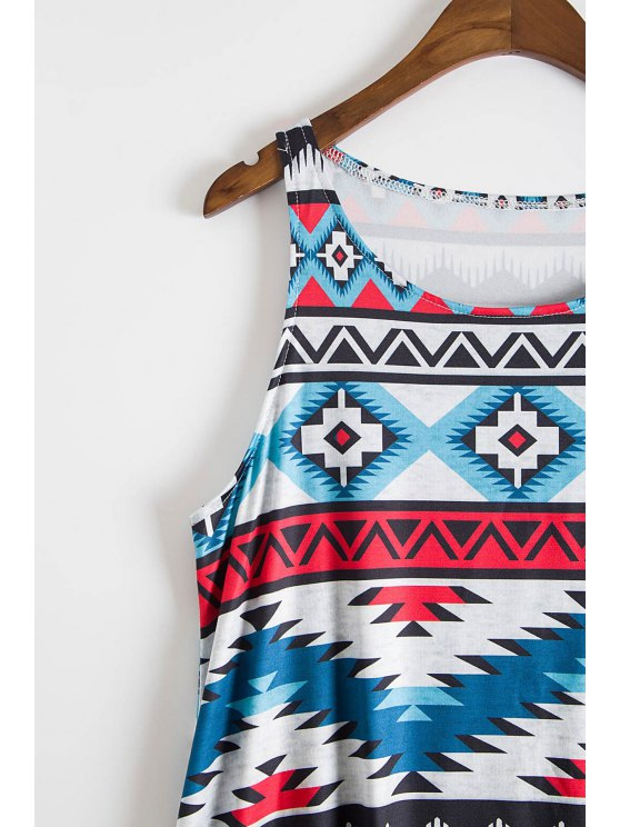 Sleeveless Printed Flare Dress - COLORMIX S Mobile