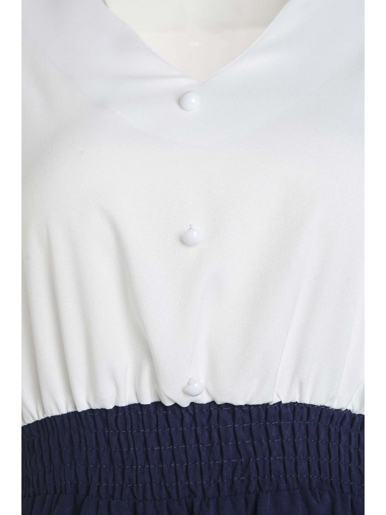 A Line Two Tone Long Sleeve Dress - BLUE AND WHITE M Mobile