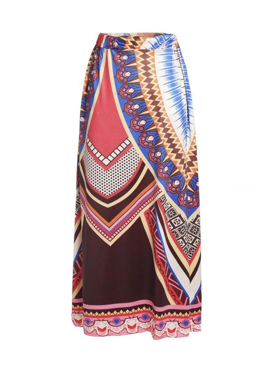 Impreso holgada falda maxi - Colormix L