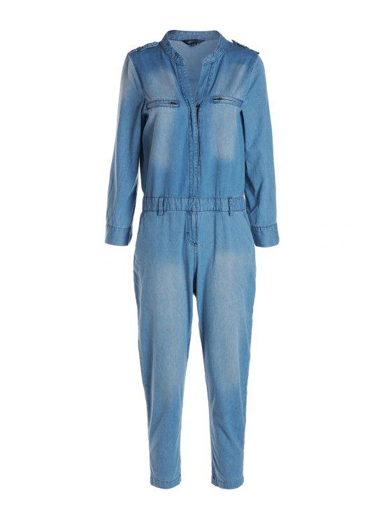 lady Blue Denim V Neck Long Sleeve Jumpsuit - BLUE M
