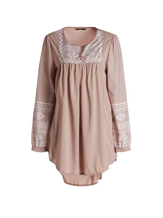 chic Long Sleeve Irregular Hem Tunic Dress - CAMEL S