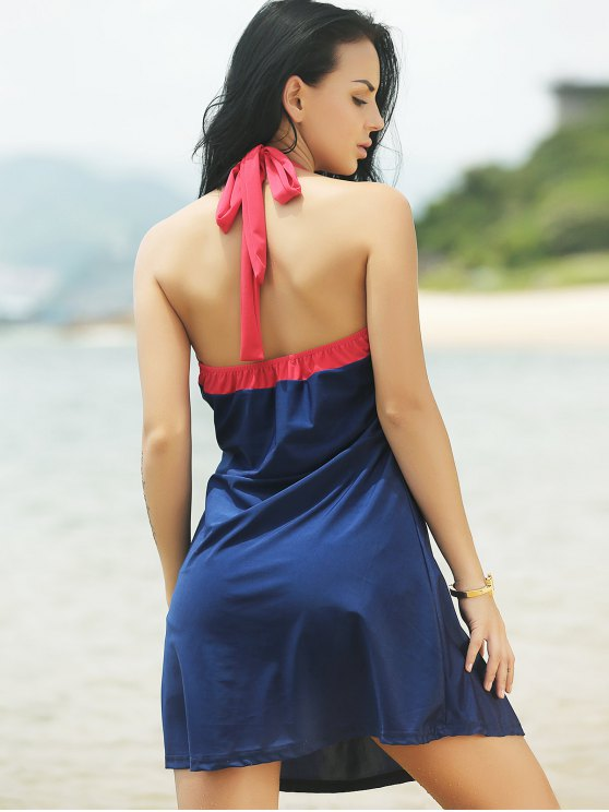 Halter Convertible Sailor Retro Swimdress Bathing Suit - BLUE AND RED XL Mobile
