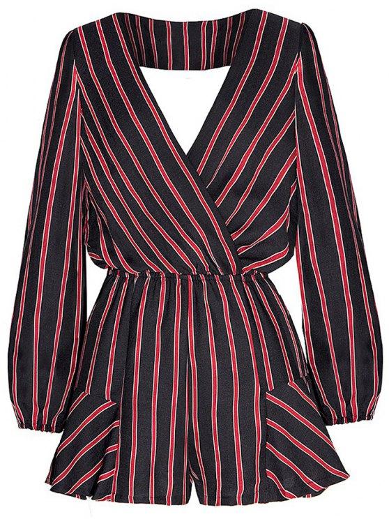 Striped Surplice Romper - Rouge et Noir 2XL