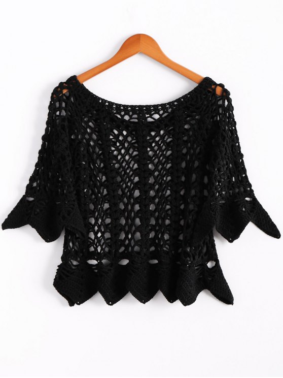 Solid Color Cut Out Round Neck Butterfly Sleeve Sweater - BLACK ONE SIZE(FIT SIZE XS TO M) Mobile