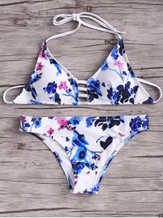 best Women Floral Halter Bikini Set - BLUE AND WHITE AND RED M