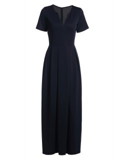 فستان قصيرة الأكمام لون الصلبة ماكسي - ازرق غامق M