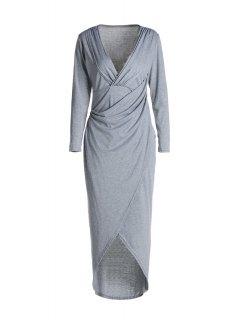 Plunging Neck Cross High Split Long Sleeve Dress - Light Gray S