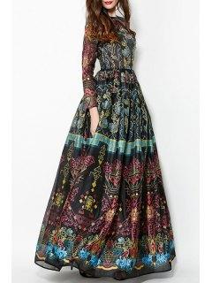 Robe Maxi Imprimée En Voile à Col Rond à Manches Longues à Style Vintage - Noir Xl
