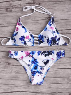 Women Floral Halter Bikini Set - Blue And White And Red M