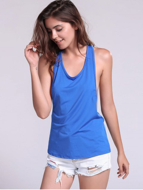 fancy Dropped Armhole Tank Top - SAPPHIRE BLUE S Mobile