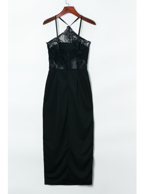 trendy Suspender Lace Splicing Sleeveless Backless Dress - BLACK ONE SIZE(FIT SIZE XS TO M) Mobile