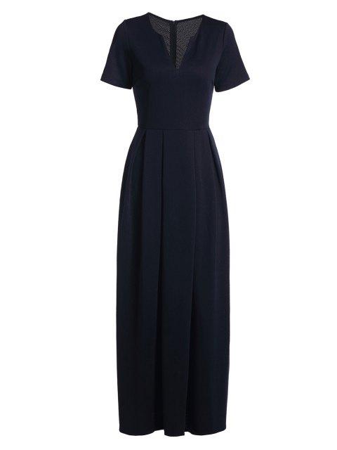 unique Short Sleeve Pure Color Maxi Dress - DEEP BLUE XL Mobile