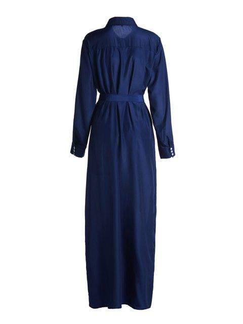 online Blue Shirt Neck Long Sleeve Maxi Dress - BLUE S Mobile
