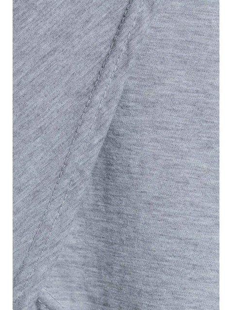 womens Plunging Neck Cross High Split Long Sleeve Dress - LIGHT GRAY XL Mobile