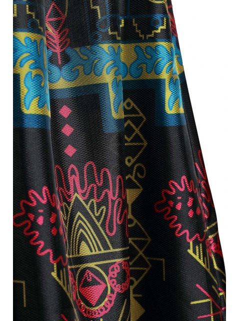 ladies Colorful Vintage Print Maxi Voile Dress - BLACK M Mobile